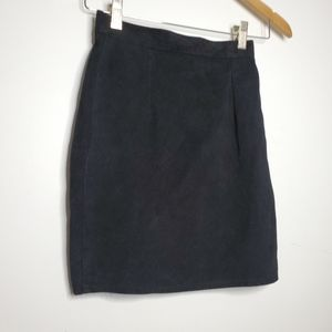 VINTAGE black suede mini skirt